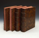 Thomas Aquinas, Opera, Lyon, 1581, 4 volumes, contemporary Spanish plateresque calf