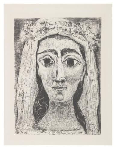 View 1. Thumbnail of Lot 45. PABLO PICASSO | JACQUELINE EN MARIÉE, DE FACE. I (NOT IN BLOCH; BA. 1089).