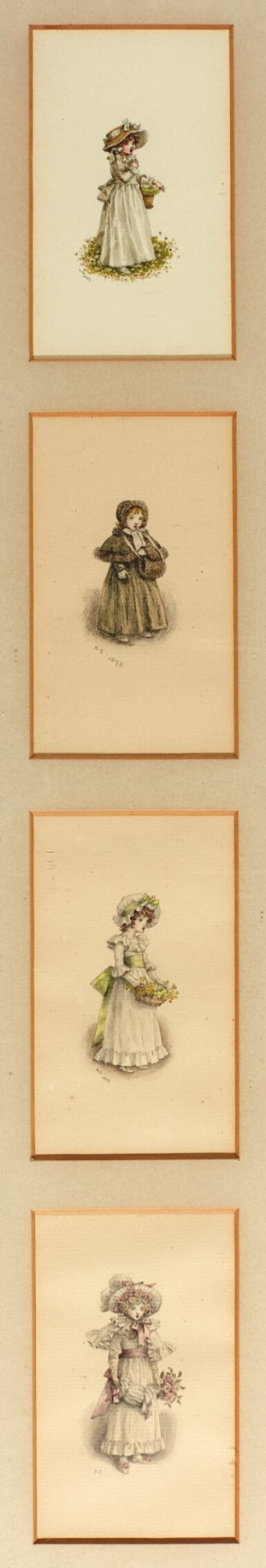 GREENAWAY | Eight miniature portraits, pen and watercolour drawings, 1896-1899