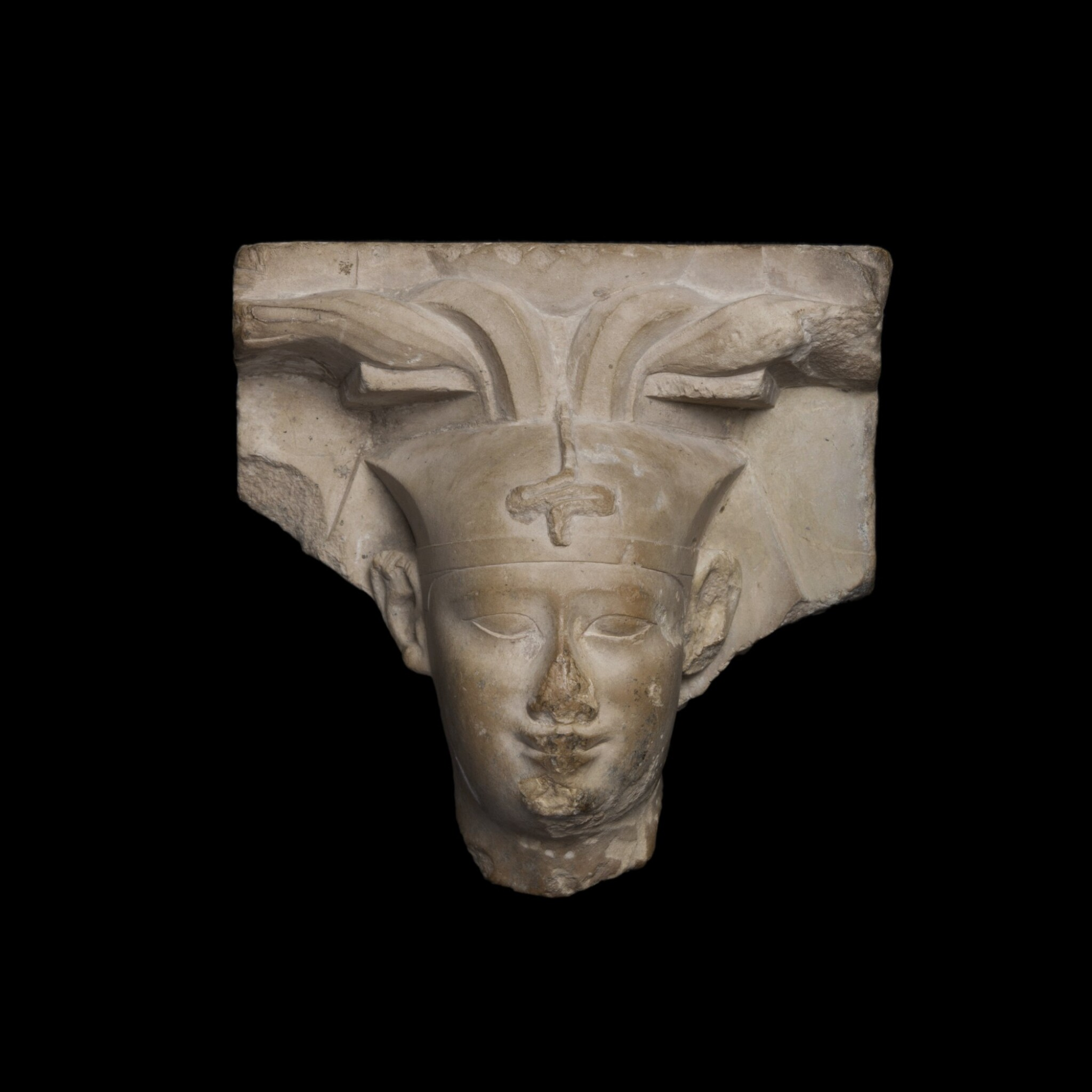 View 1 of Lot 36. An Egyptian Limestone Head of a King, early Ptolemaic Period, circa 304-350 B.C..