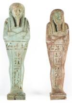 TWO EGYPTIAN GREEN-GLAZED USHABTIS, 26TH DYNASTY, CIRCA 664-525 B.C.