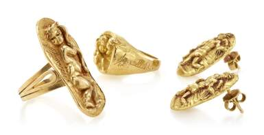 TWO RINGS AND A PAIR OF EARRINGS (DUE ANELLI ED UN PAIO DI ORECCHINI) , GERMANO ALFONSI