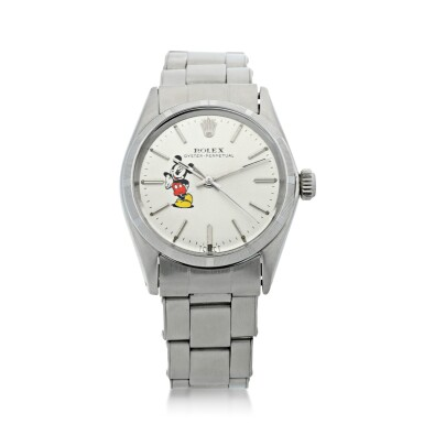 View 1. Thumbnail of Lot 95. ROLEX   REFERENCE 6548 OYSTER PERPETUAL 'MICKEY MOUSE'  A STAINLESS STEEL AUTOMATIC WRISTWATCH WITH BRACELET, CIRCA 1964.
