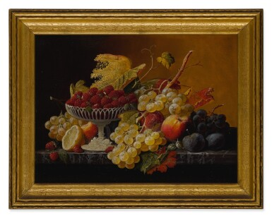 View 4. Thumbnail of Lot 8. SEVERIN ROESEN   STILL LIFE OF FRUIT WITH COMPOTE OF STRAWBERRIES AND STILL LIFE WITH FRUIT AND EMBROIDERED CLOTH: A PAIR OF WORKS.