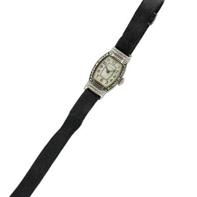 View 6. Thumbnail of Lot 162. A white gold wristwatch, Circa 1925 .