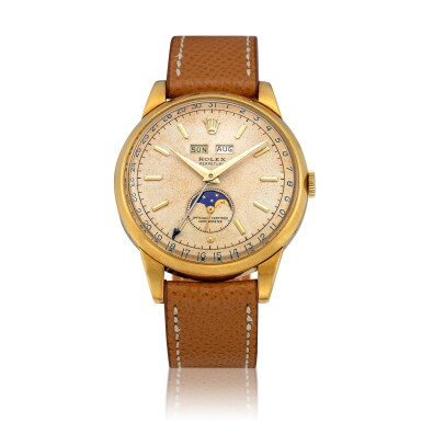 View 1. Thumbnail of Lot 41. 'Padellone', Ref. 8171 Yellow gold triple calendar wristwatch with moon phases Circa 1951 | 勞力士8171型號「Padellone」黃金全日曆腕錶備月相顯示,年份約1951.
