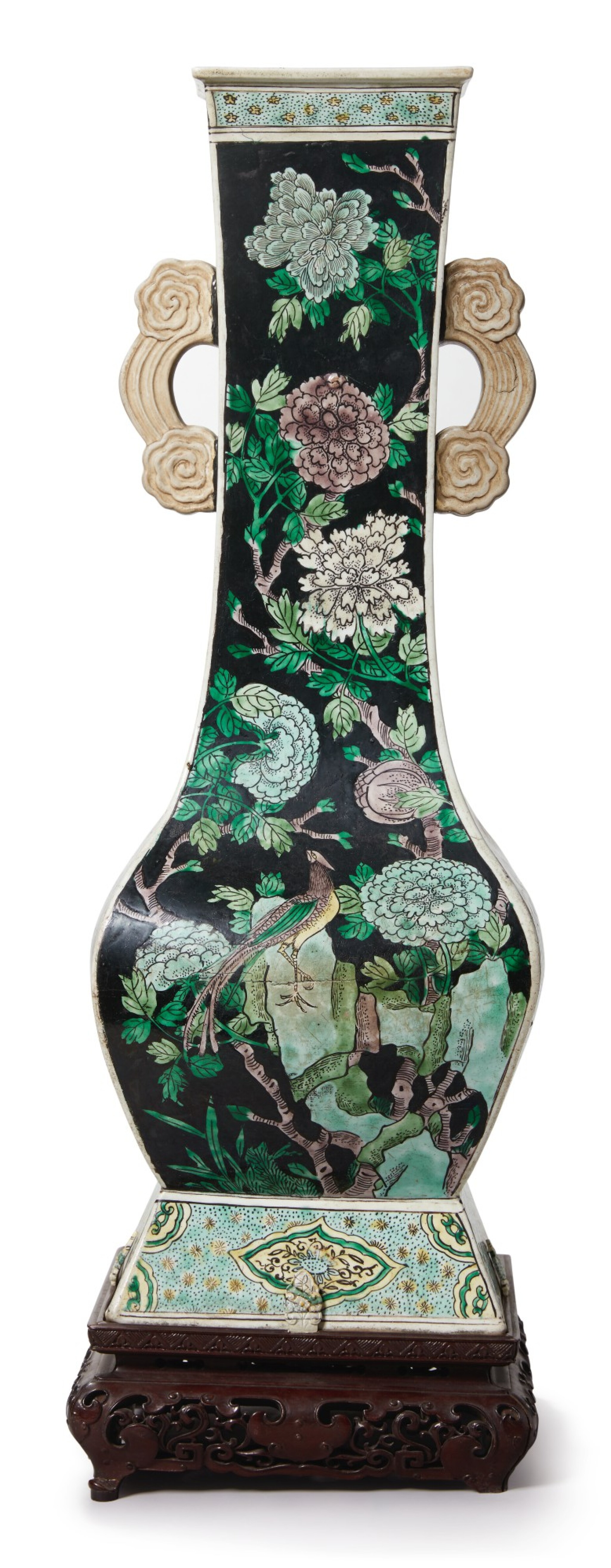View 1 of Lot 1029.  A FAMILLE-NOIRE 'BIRD AND FLOWER' FANGHU-FORM VASE, QING DYNASTY, 19TH CENTURY.
