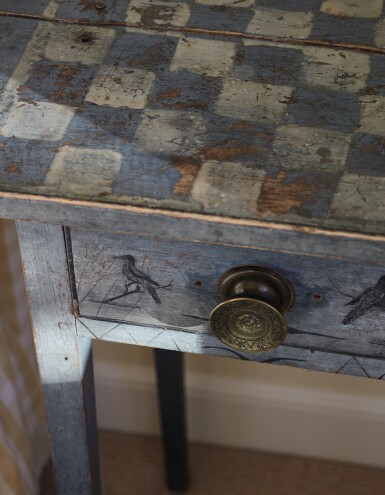 View 2. Thumbnail of Lot 1438. VERY FINE FEDERAL BLUE PAINT-DECORATED PINE ONE-DRAWER STAND, NEW ENGLAND, CIRCA 1820.