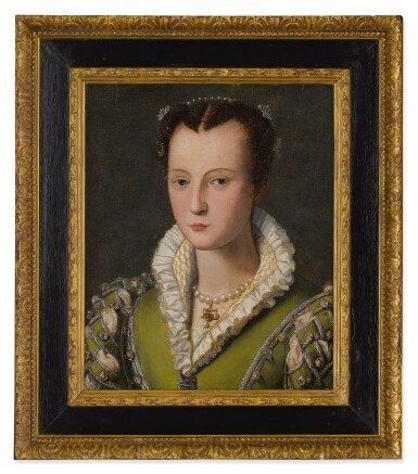 View 2. Thumbnail of Lot 510. CIRCLE OF ALESSANDRO ALLORI | PORTRAIT OF A LADY, SAID TO BE A MEDICI, BUST LENGTH, WEARING A GREEN DRESS AND PEARLED NECKLACE.