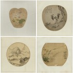 Artistes variés Ensemble de quatre peintures | 團扇面 一組四幀 | Various artists  Set of Four Paintings, ink and colour on silk, of which three framed and under glass