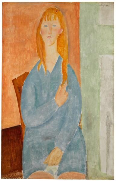 View 1. Thumbnail of Lot 1023. Jeune fille assise, les cheveux dénoués (Jeune fille en bleu).