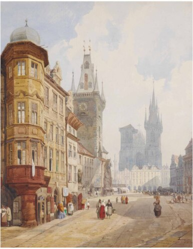 View 1. Thumbnail of Lot 22. THOMAS SHOTTER BOYS | VIEW OF PRAGUE, LOOKING TOWARDS OLD TOWN SQUARE WITH THE RATHAUS AND TYN CHURCH.