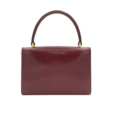 View 4. Thumbnail of Lot 725. GUCCI   BURGUNDY VINTAGE BAG IN LIZARD, c.1960s.
