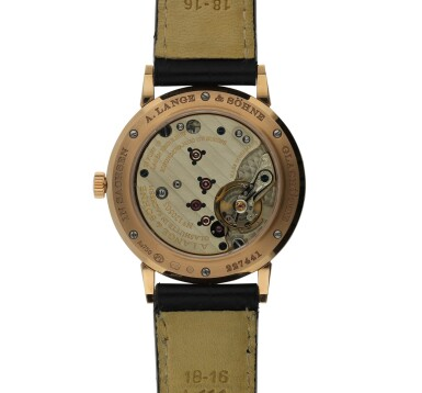 View 3. Thumbnail of Lot 9.  A. LANGE & SÖHNE   REF 219.032 SAXONIA, A PINK GOLD CENTER SECONDS WRISTWATCH CIRCA 2000.