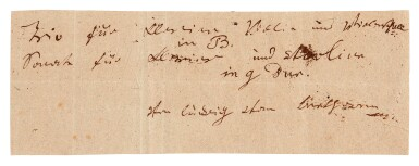 "View 1. Thumbnail of Lot 7. L v Beethoven, unpublished autograph note signed about the ""Archduke"" Trio and his final violin sonata, [1813-1815]."