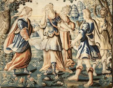 View 2. Thumbnail of Lot 107. A MYTHOLOGICAL TAPESTRY, EARLY 17TH CENTURY, PARISIAN WORKSHOP OF CHARLES DE COMANS AND FRANS VAN DEN PLANKEN   TAPISSERIE À SUJET MYTHOLOGIQUE, PREMIER QUART DU XVIIE SIÈCLE, ATELIER PARISIEN DE CHARLES DE COMANS ET FRANS VAN DEN PLANKEN.
