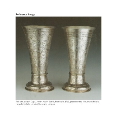View 4. Thumbnail of Lot 120. A RARE AND LARGE GERMAN PARCEL-GILT SILVER HEVRA KADISHA BEAKER, MARTIN BREUER, AUGSBURG, 1711-15.