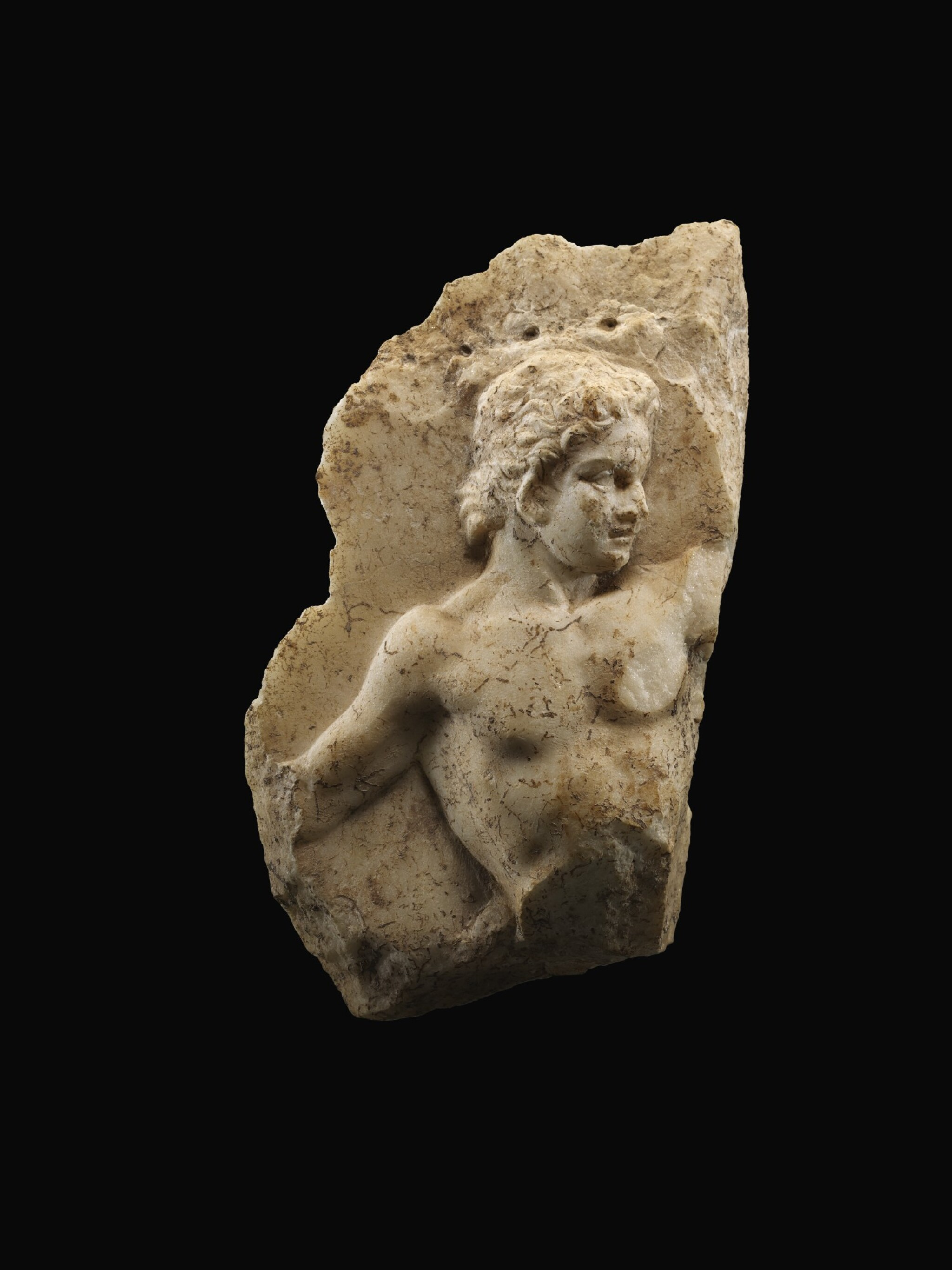 View full screen - View 1 of Lot 261.  A ROMAN MARBLE RELIEF FRAGMENT, EARLY 1ST CENTURY A.D..