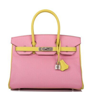View 1. Thumbnail of Lot 34. HERMÈS | HORSESHOE STAMP (HSS) BICOLOR BUBBLEGUM AND LIME BIRKIN 30CM OF EPSOM LEATHER WITH PALLADIUM HARDWARE.