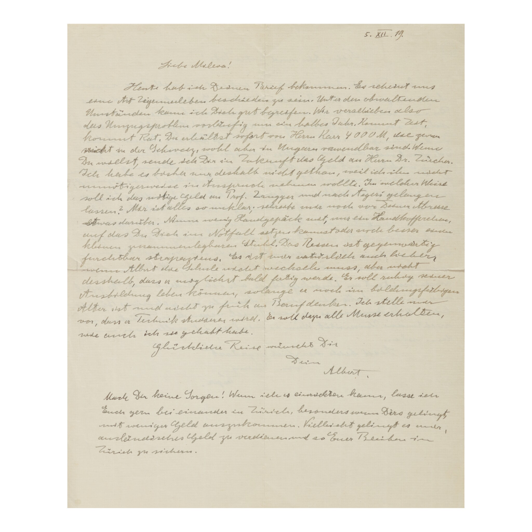 View full screen - View 1 of Lot 173. EINSTEIN, ALBERT   Autograph letter signed, one side addressed to wife Mileva Maric, the other to his sons Hans Albert and Eduard, 5 December, 1919..