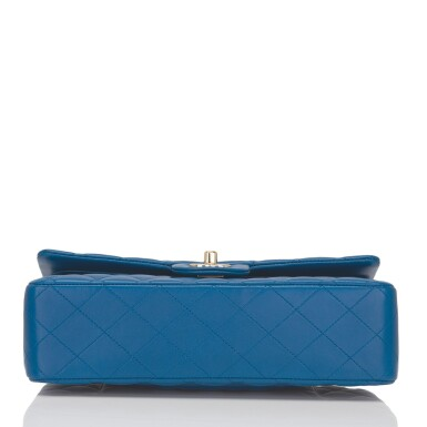 View 5. Thumbnail of Lot 43. Chanel Blue Quilted Medium Classic Double Flap Bag of Lambskin Leather with Light Gold Tone Hardware.