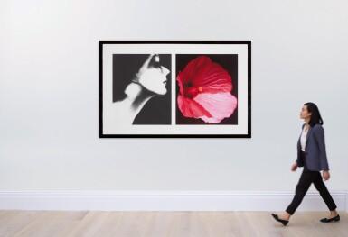 View 4. Thumbnail of Lot 65. Lisa Fonssagrives, Harper's Bazaar, and Flower 28 (Pink Mallow): a diptych.