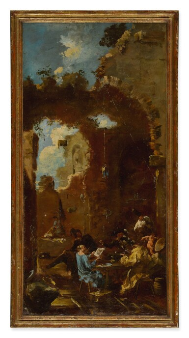 View 2. Thumbnail of Lot 96. Sold Without Reserve   MANNER OF ALESSANDRO MAGNASCO, CALLED IL LISSANDRINO   A CONCERT IN A TAVERN AMONG RUINS.