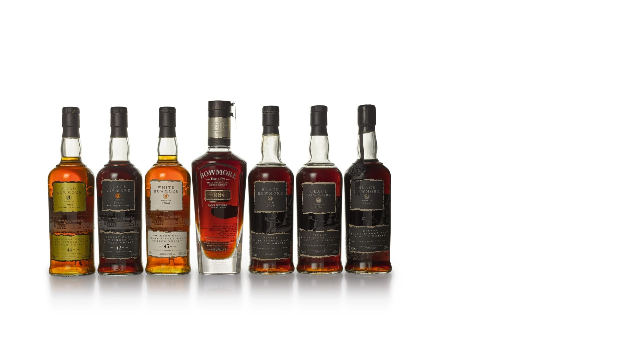 View 1 of Lot 43. Black Bowmore and Bowmore Trilogy Set (7 BT70cl).