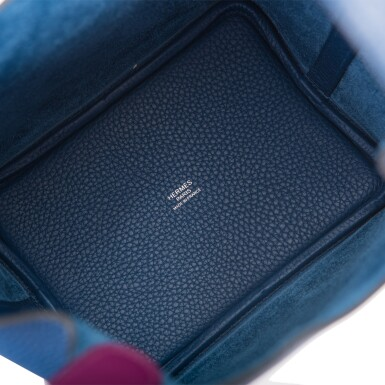 View 7. Thumbnail of Lot 8. Hermès Deep Blue and Anemone Picotin Lock 18cm of Clemence Leather with Palladium Hardware.