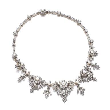 View 1. Thumbnail of Lot 1238. Diamond necklace/tiara, circa 1880.