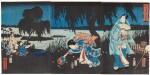UTAGAWA HIROSHIGE I (1786–1865), EDO PERIOD, 19TH CENTURY | GENJI CATCHING FIREFLIES
