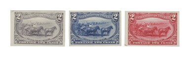 Trans-Mississippi 1898 2c Trial Color Proofs on Card (286TC4 a,c,e)