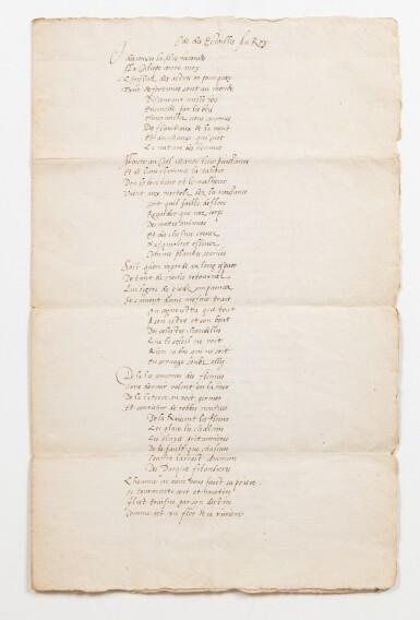 View 1. Thumbnail of Lot 17. RONSARD. Ode des Estoilles au Roy. Manuscrit. [1573]; 3 pages sur un bi-feuillet in-folio. Chemise et étui..