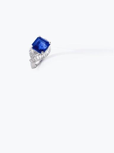 View 5. Thumbnail of Lot 159. Fine Sapphire and diamond ring   藍寶石配鑽石戒指.