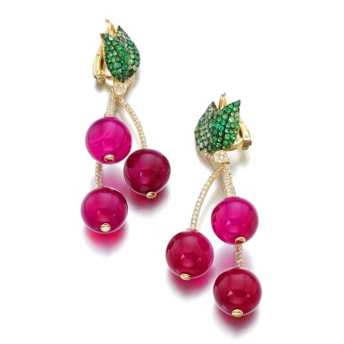 View 2. Thumbnail of Lot 7. MICHELE DELLA VALLE | PAIR OF RED AGATE, TSAVORITE GARNET AND DIAMOND EAR CLIPS, 'CILIEGIE'.