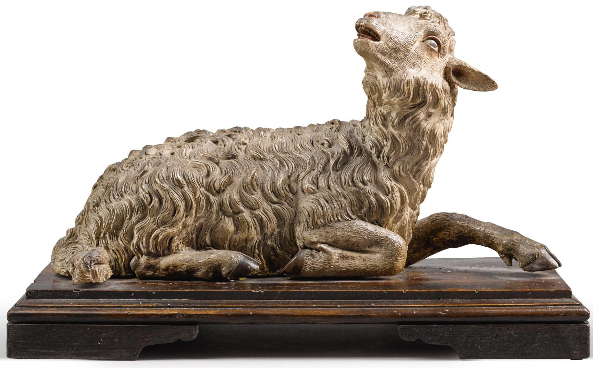 View full screen - View 1 of Lot 63.  ITALIAN, NAPLES, 18TH CENTURY | RECLINING LAMB.