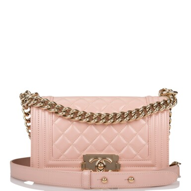CHANEL |  NUDE LIGHT PINK SMALL BOY BAG OF PATENT LEATHER WITH GOLD TONE HARDWARE