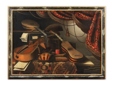 View 5. Thumbnail of Lot 156. Still life with musical instruments and a red drapery;  Still life with musical instruments and a globe.