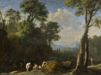 HERMAN VAN SWANEVELT | Diana and her nymphs bathing in a wooded landscape