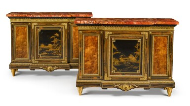 View 1. Thumbnail of Lot 179. A pair of Louis XIV style gilt-bronze mounted calamander and hardwood breakfront side cabinets, English, last quarter 19th century.