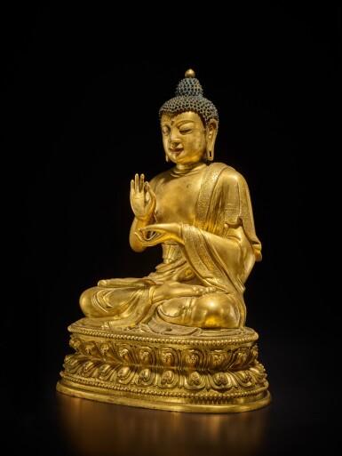 View 3. Thumbnail of Lot 60. A large gilt-bronze figure of Dipankara Buddha, Qing dynasty, Kangxi period | 清康熙 銅鎏金燃燈佛坐像.