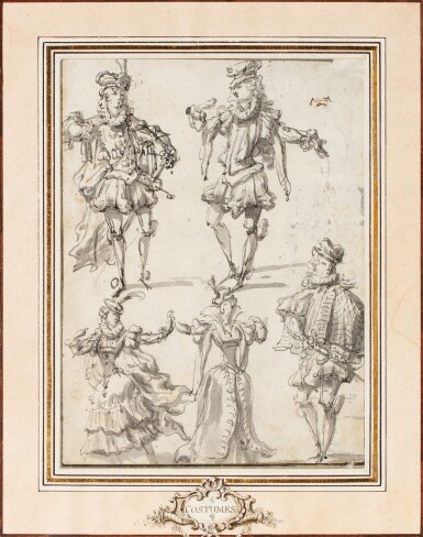 View 2. Thumbnail of Lot 25. A pair of double sided drawings: Costume designs (recto); Arabesques designs (verso).