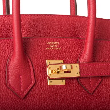 View 7. Thumbnail of Lot 21. HERMÈS   ROUGE VIF BIRKIN 25CM OF TOGO LEATHER WITH GOLD HARDWARE.