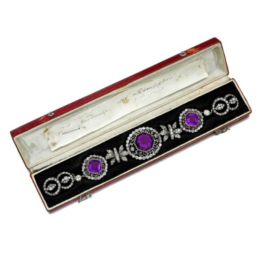 View 1. Thumbnail of Lot 54. Amethyst and diamond necklace, early 19th century.