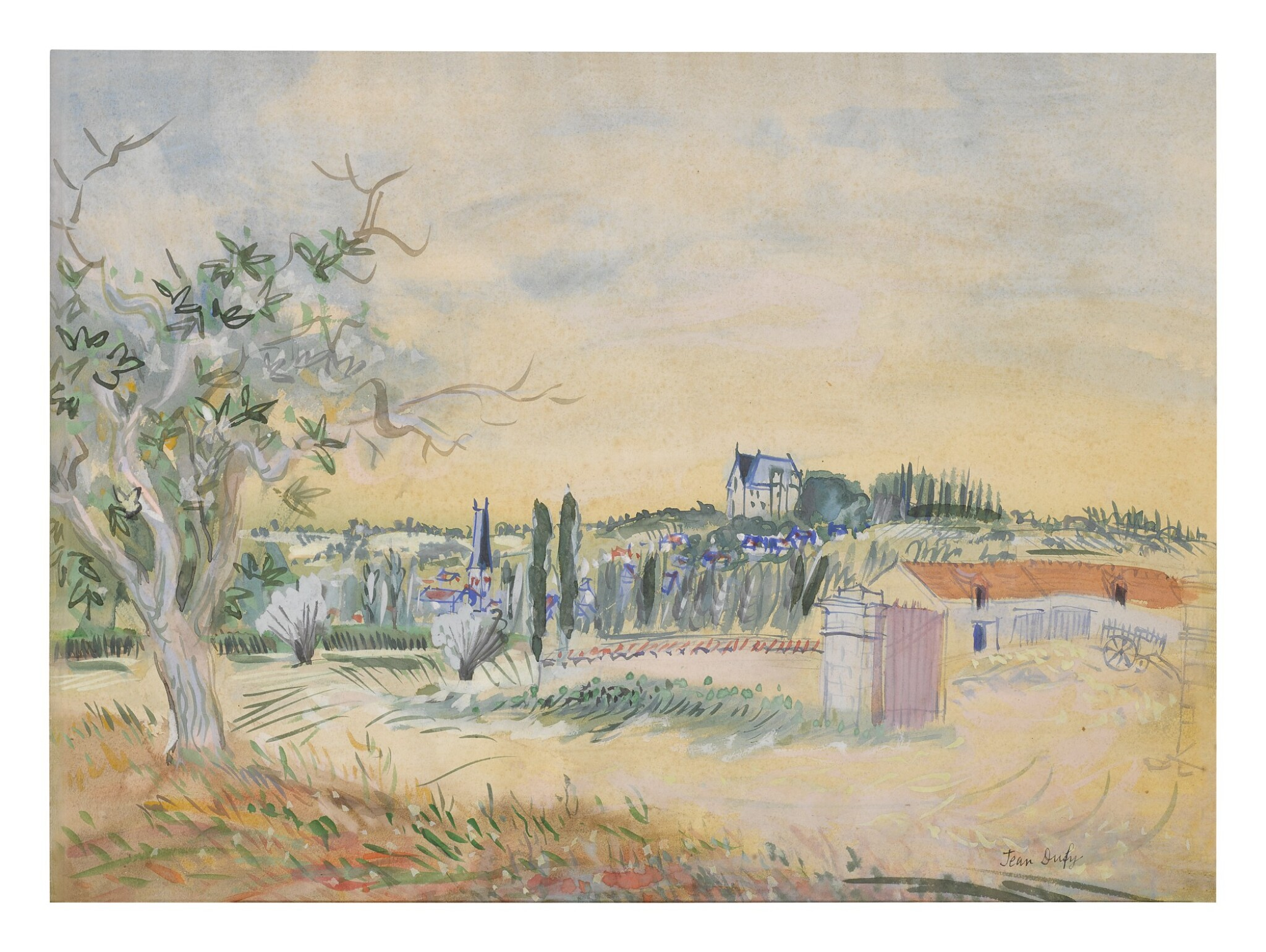 View full screen - View 1 of Lot 92. JEAN DUFY | ENVIRONS DE PREUILLY-SUR-CLAISE.