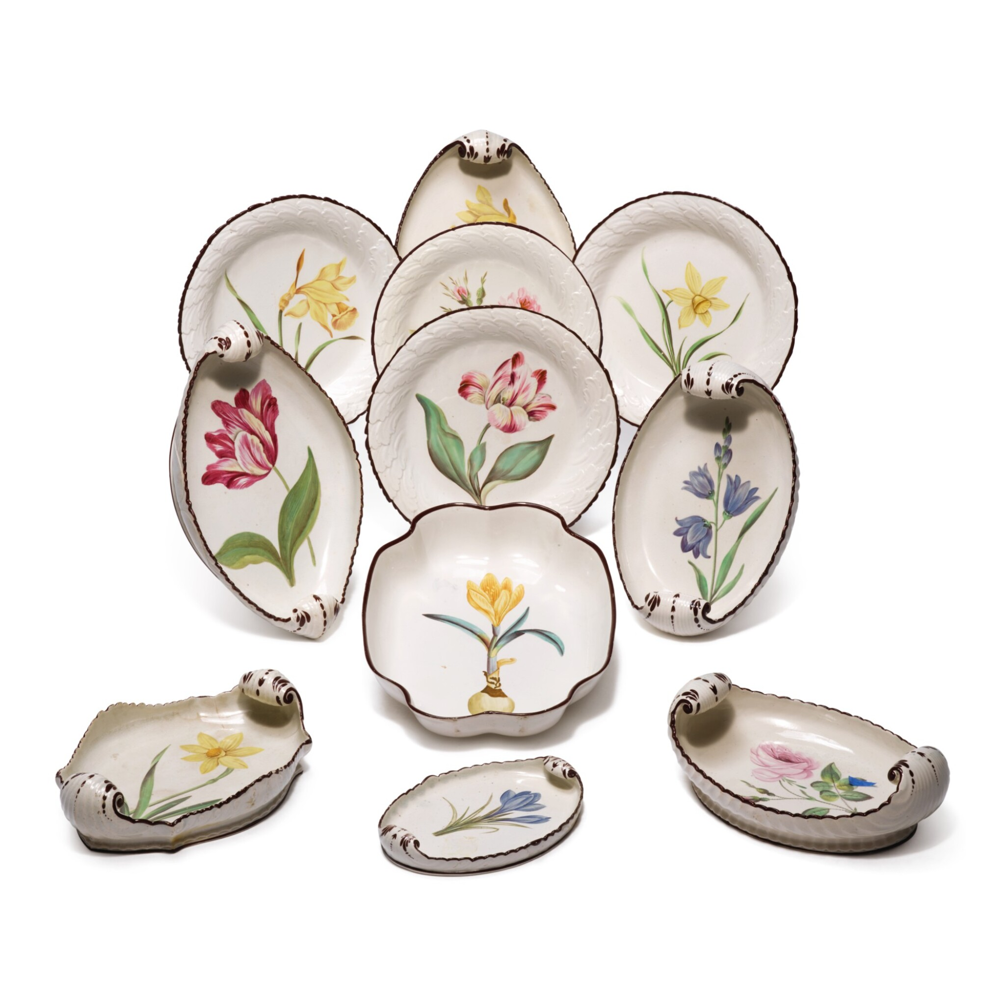 View full screen - View 1 of Lot 148. A DAVENPORT PEARLWARE BOTANICAL ASSEMBLED PART-SERVICE, CIRCA 1810.