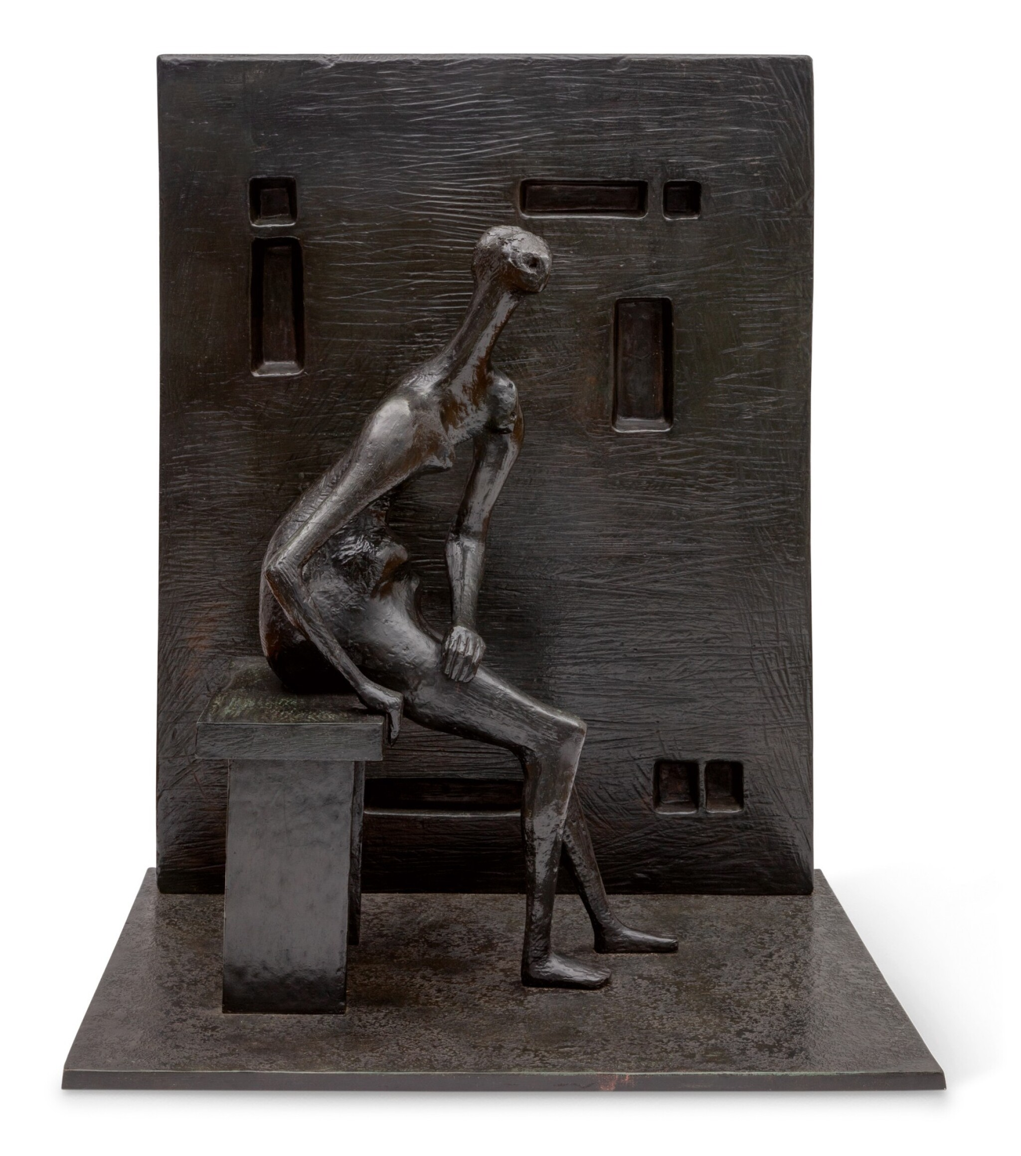 View full screen - View 1 of Lot 1024. HENRY MOORE   GIRL SEATED AGAINST SQUARE WALL .