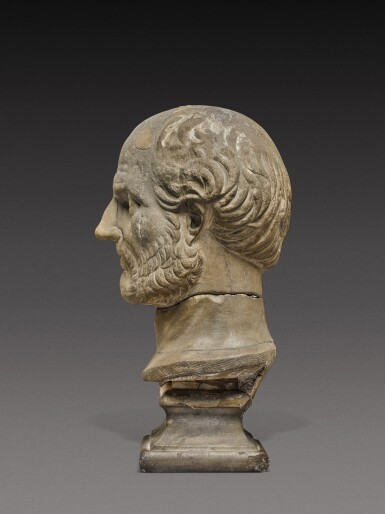 View 3. Thumbnail of Lot 85. A Roman Marble Portrait Head of a Man, probably Thucydides, 2nd Century A.D..