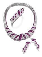 Mouawad | Ruby and diamond parure | Mouawad | 紅寶石配鑽石首飾套裝
