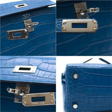 View 8. Thumbnail of Lot 8. Kelly 25 Retourne  Blue Zellige Colour in Matte Alligator Mississippiensis  with palladium hardware. Hermès. 2018..